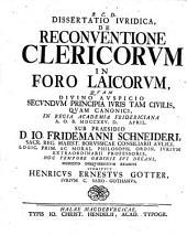 Dissertatio Iuridica de Reconventione Clericorum in Foro Laicorum