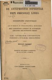De antiphontis sophistae [Peri omonoias] libro