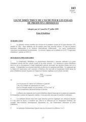 Lignes directrices pour les essais de produits chimiques / Section 1: Propriétés Physico-Chimiques Essai n° 103: Point d'ébullition