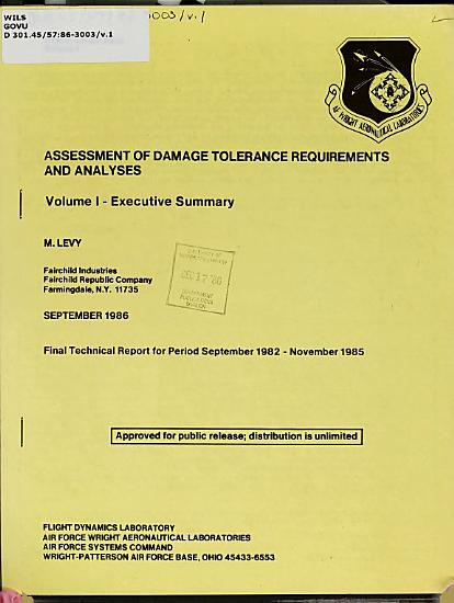 Assessment of Damage Tolerance Requirements and Analyses  Executive summary PDF
