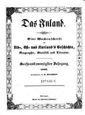 Das Inland. Eine Wochenschrift für Liv-, Esth- und Curländische Geschichte, Geographie, Statistik und Litteratur: Band 26