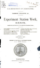 Experiment Station Work, XXXIX