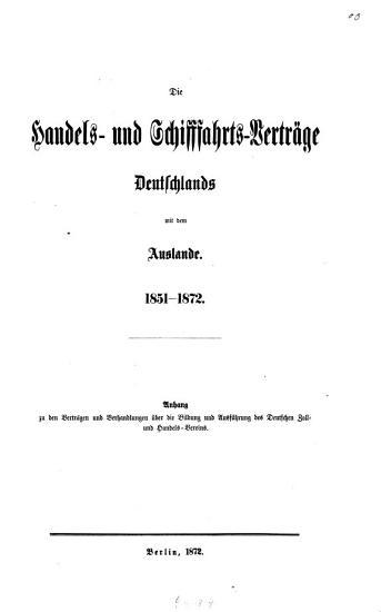 Die Handels  und Schiffahrts Vertr  ge Deutschlands mit dem Auslande PDF