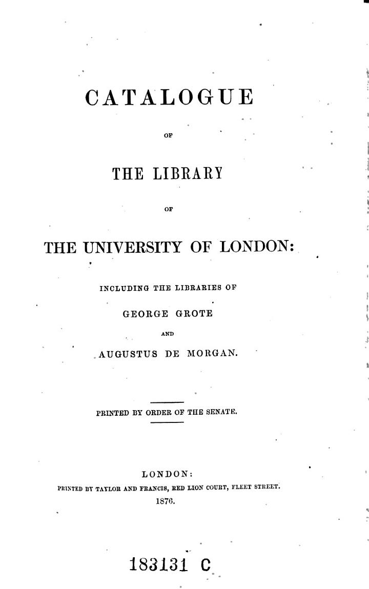 Catalogue of the Library of the University of London