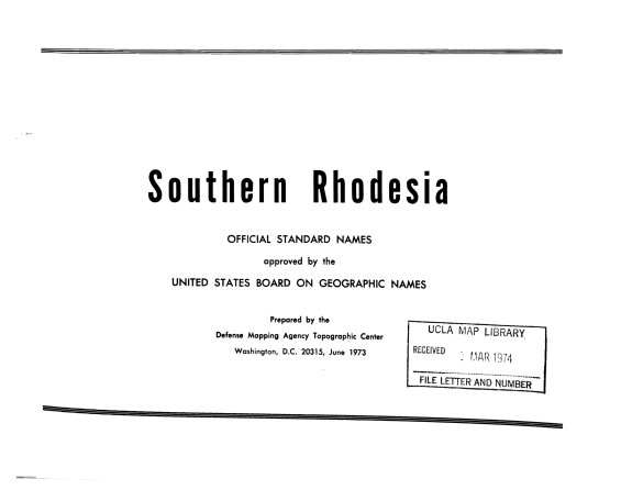 Southern Rhodesia  Official Standard Names Approved by the United States Board on Geographic Names PDF