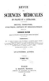 Revue des sciences médicales en France et à l'étranger: recueil trimestriel analytique, critique et bibliographique, Volume7