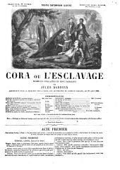 Cora, ou l'Esclavage, drame en cinq actes, etc