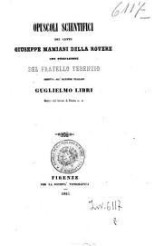 Opuscoli scientifici del conte Giuseppe Mamiani Della Rovere