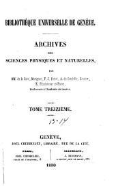 Archives des sciences physiques et naturelles: Volumes13à14