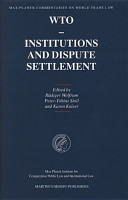 WTO   Institutions and Dispute Settlement PDF