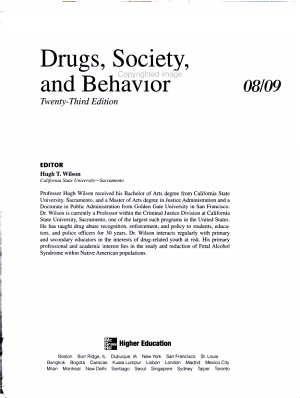 Annual Editions  Drugs  Society  and Behavior 08 09 PDF