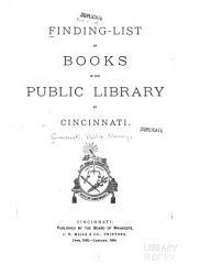 Finding List Of Books In The Public Library Of Cincinnati Book PDF