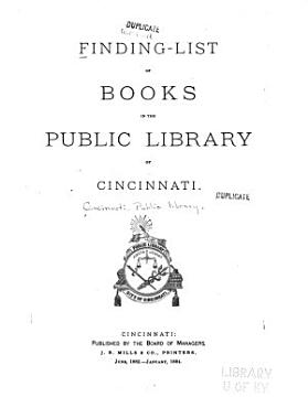 Finding List of Books in the Public Library of Cincinnati PDF