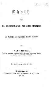 Thoth, oder die Wissenschaften der alten Aegypter nach klassischen und ägyptischen Quellen