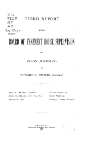 ... Report of the Board of Tenement House Supervision of New Jersey to ... Governor ...