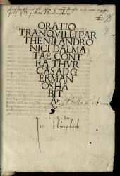 Oratio Tranquilli Parthenii Andronici Dalmatae contra Thurcas ad Germanos habita