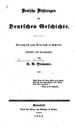 Deutsche dichtungen zur deutschen geschichte PDF