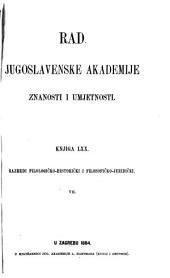 Rad Jugoslavenske akademije znanosti i umjetnosti: Knj. 70-75
