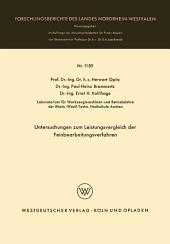 Untersuchungen zum Leistungsvergleich der Feinbearbeitungsverfahren
