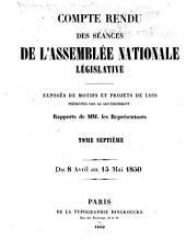 Compte rendu des séances de l'Assemblée nationale: Volume7