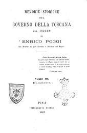 Memorie storiche del Governo della Toscana nel 1859-60 di Enrico Poggi: Documenti, Volume 3