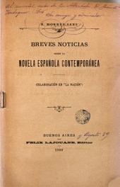 """Breves noticias sobre la novela española contemporánea (colaboración en """"La Nación"""")."""