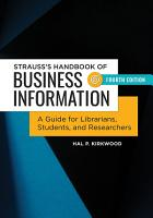 Strauss s Handbook of Business Information  A Guide for Librarians  Students  and Researchers  4th Edition PDF