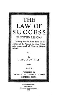 The Law of Success in Sixteen Lessons Book