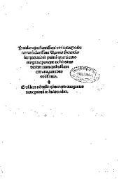 Preclara... Vgonis Senensis i[n]terpretatio in prima[m] quarti Canonis principis, que De febribus dicitur: eiusdem no[n]nulle qo[n]nes extrauagantes nunc primu[m] in lucem edite
