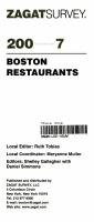 Zagat Survey Boston Restaurants PDF