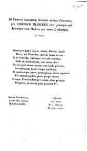 Ad phoebum Appollinem ... pro Ludovico Vrancken, inter principes qui Antverpiae sunt, medicos per annos L adscripto pia vota