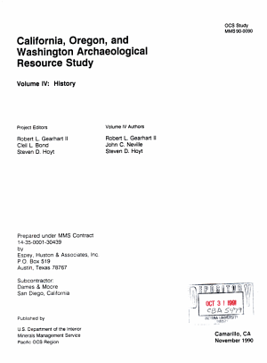 California  Oregon  and Washington Archaeological Resource Study  History PDF