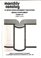 Monthly Catalogue  United States Public Documents PDF
