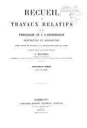 Recueil de travaux relatifs à la philologie et à l'archeologie égyptiennes et assyriennes: Volume28