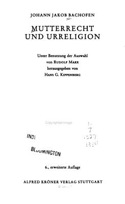 Mutterrecht und Urreligion PDF
