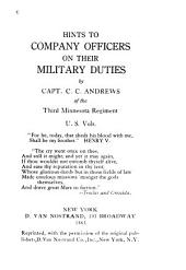 Hints to Company Officers on Their Military Duties