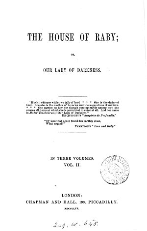 The house of Raby  or  Our lady of darkness  by J M  Hooper