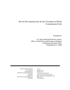 Recent developments for in situ treatment of metal contaminated soils