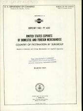 United States Exports of Domestic and Foreign Merchandise: Country of destination by subgroup, Volume 3