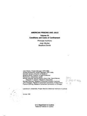 American Prisons and Jails  Conditions and costs of confinement