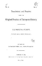 Translations and Reprints from the Original Sources of History