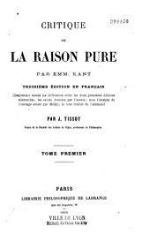 Critique de la raison pure: Volume 1