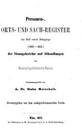 Personen-, Orts- und Sach-Register der Sitzungsberichte und Abhandlungen des Wiener zoologisch-botanischen Vereines, zusammengestellt: Bände 1-4
