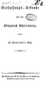 Verfassungs-urkunde für das königreich Würtemberg, vom 25.september 1819