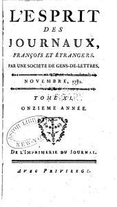 L'Esprit des journaux, françois et étrangers: Numéro11