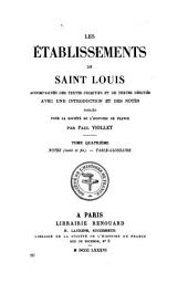 Les établissements de saint Louis: Notes (suite et fin) Table-glossaire