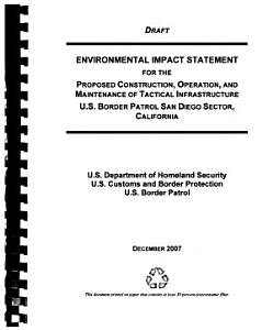 Proposed Construction  Operation  and Maintenance of Tactical Infrastructure  U S  Border Patrol San Diego Sector PDF