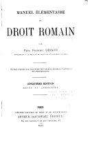 Download Manuel   l  mentaire de Droit Romain Book