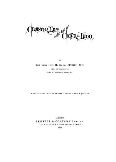 Cloister Life in the Days of C  ur de Lion PDF