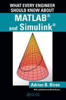 What Every Engineer Should Know about MATLAB   and Simulink   PDF